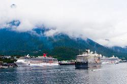 Juneau, Alaska, cruise, ships, port, water, sea, clouds, mountains