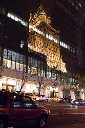 Reflection, New York, night, building, glass, tower, urban, street